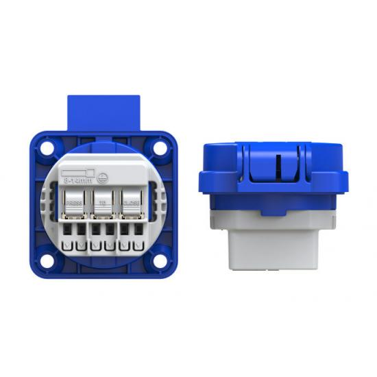 Розетка встраиваемая Schuko 16А 2p+E IP54 цвет голубой, фланец 50х50 PCE - Фотография №2