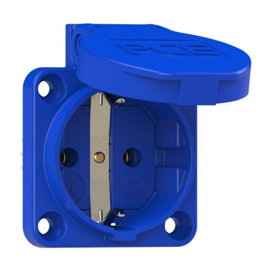 Розетка встраиваемая Schuko 16А 2p+E IP54 цвет голубой, фланец 50х50 PCE - Фотография №1