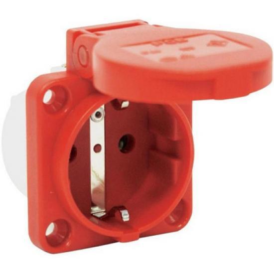 Розетка встраиваемая Shuko 2p+E 16А IP54 боковое подключение, красный - Фотография №1