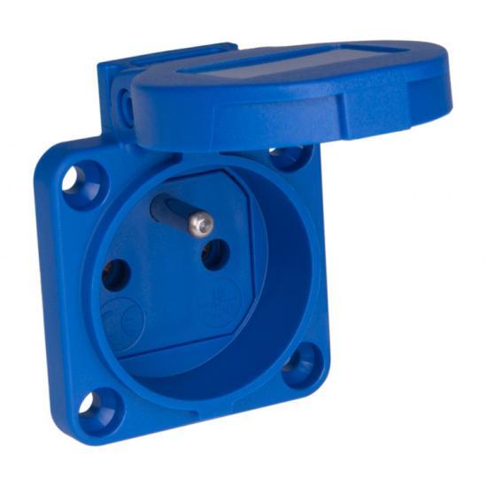 Розетка встраиваемая Бельгийский стандарт 2p+E 16А IP54 голубой - Фотография №1