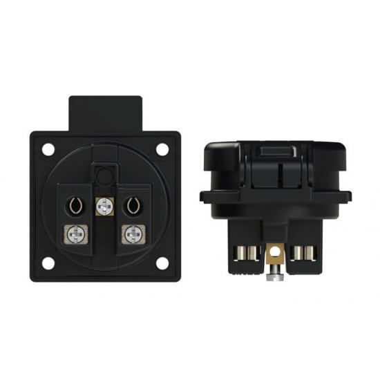 Розетка встраиваемая Shuko 2p+E 16А IP54 боковое подключение, прокладка, черный - Фотография №2