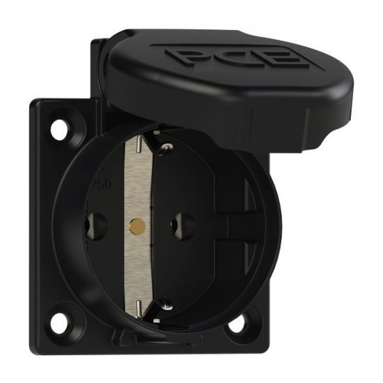Розетка встраиваемая Shuko 2p+E 16А IP54 боковое подключение, прокладка, черный - Фотография №1
