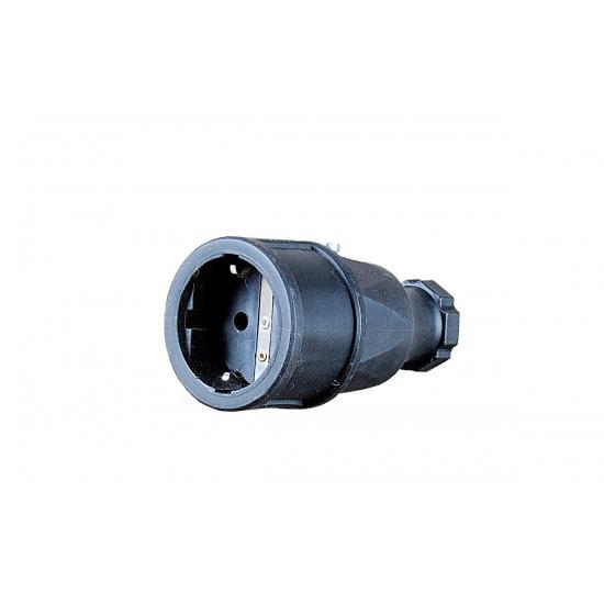 Розетка переносная Shuko 2p+E 16А IP20 резина, черный - Фотография №1