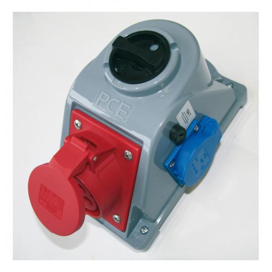 Розетка Комбо 16А/400V/3p+E/IP44 с розеткой Schuko и выключателем - Фотография №1