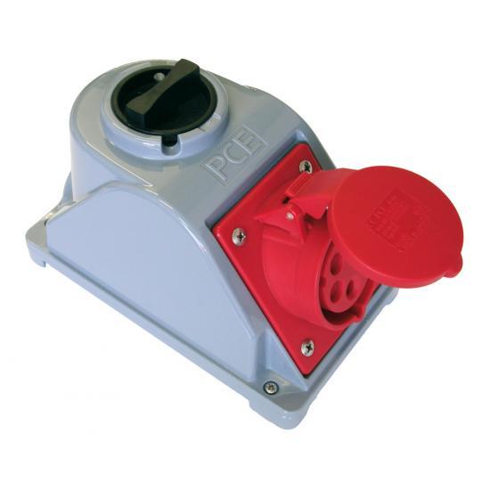 Розетка Комбо 16А/400V/3p+N+E/IP44 с розеткой Schuko и выключателем - Фотография №1