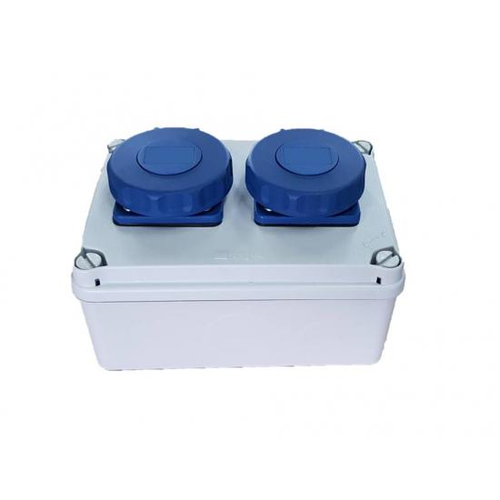 Розетка настенная двойная AquaPRO 16А 2p+E 230В IP67 стандарт Schuko - Фотография №2