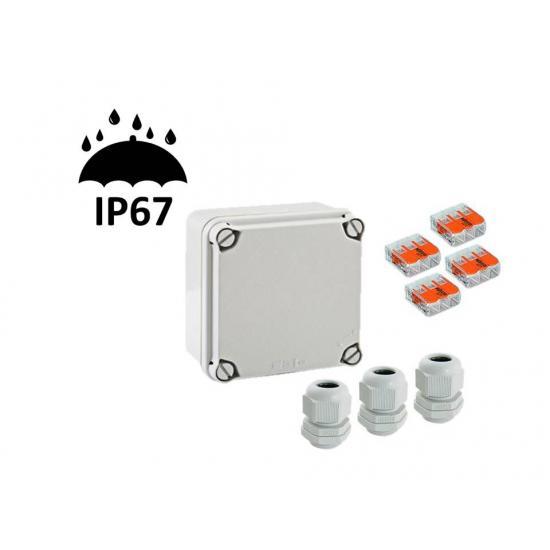 Распределительная коробка 113x113x68 с клеммником и кабельными вводами IP67 - Фотография №1