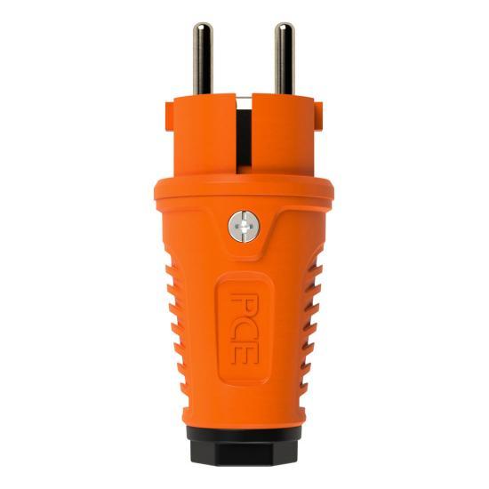 0511-os Вилка кабельная 16A/250V/2P+E/IP54 корпус оранжевый, маркер черный PCE - Фотография №1