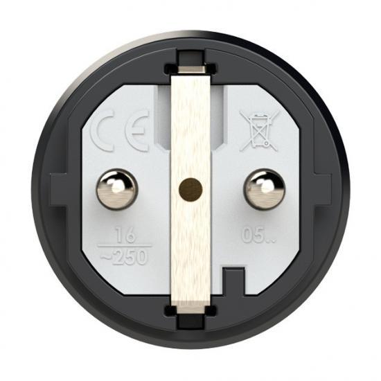 0511-shu Вилка кабельная 16A/250V/2P+E/IP54 корпус черный, маркер зеленый PCE - Фотография №2